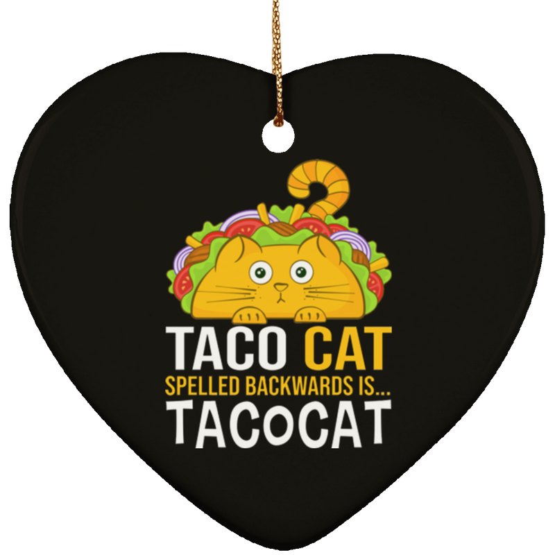 TACO CAT Ceramic Heart Ornament