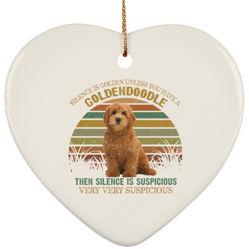 SILENCE IS GOLDEN Ceramic Heart Ornament