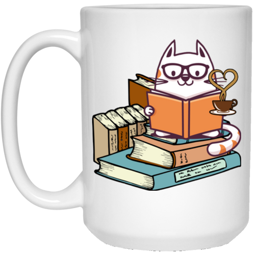 KITTENS CATS TEA AND BOOKS 15 oz. White Mug