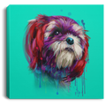 Hand Painted Shih Tzu Square Canvas .75in Frame