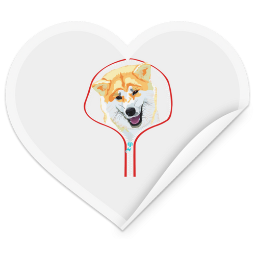 AKITA ZIP-DOWN Heart Sticker