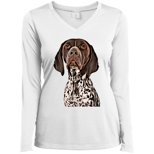CUSTOMIZED PET PRINT ART Ladies' LS Performance V-Neck T-Shirt