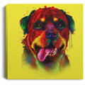 Hand Painted Rottweiler Square Canvas .75in Frame