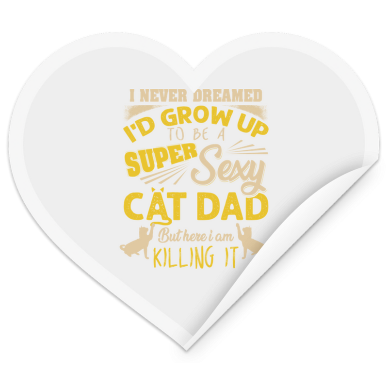 SEXY CAT DAD Heart Sticker