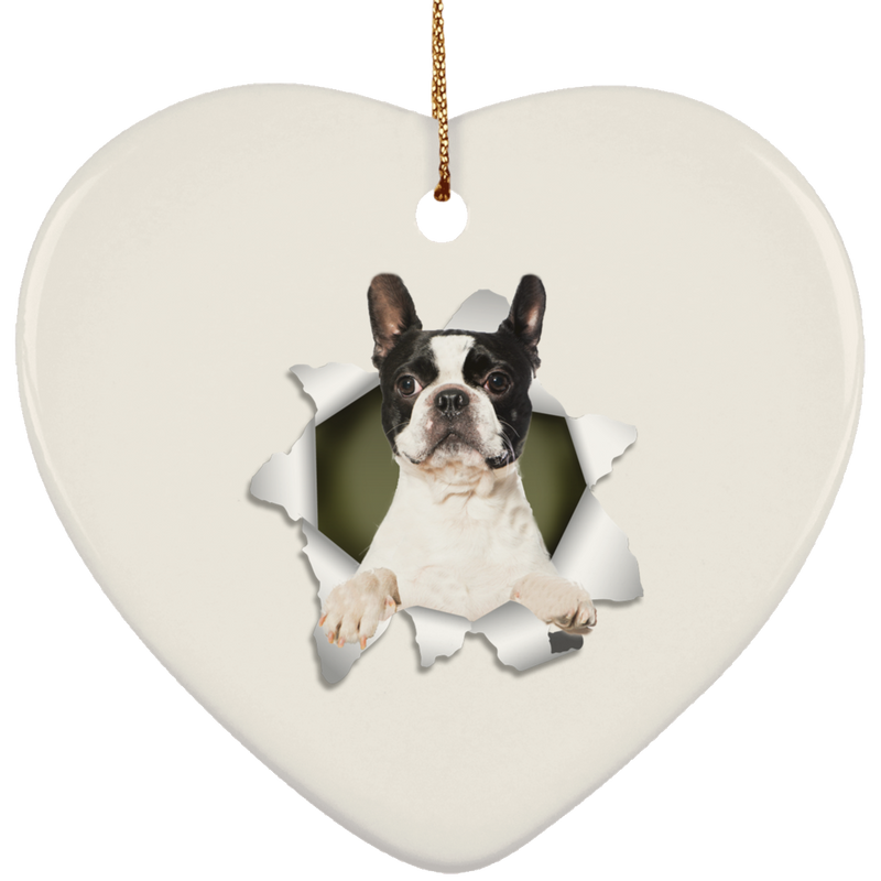 BOSTON TERRIER 3D Ceramic Heart Ornament