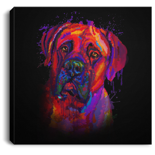 Hand Painted Bullmastiff Square Canvas .75in Frame