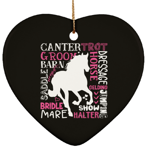 HORSE LOVER Ceramic Heart Ornament