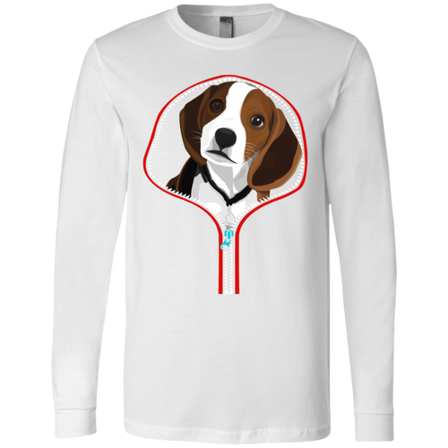 BEAGLE ZIP-DOWN Men's Jersey LS T-Shirt