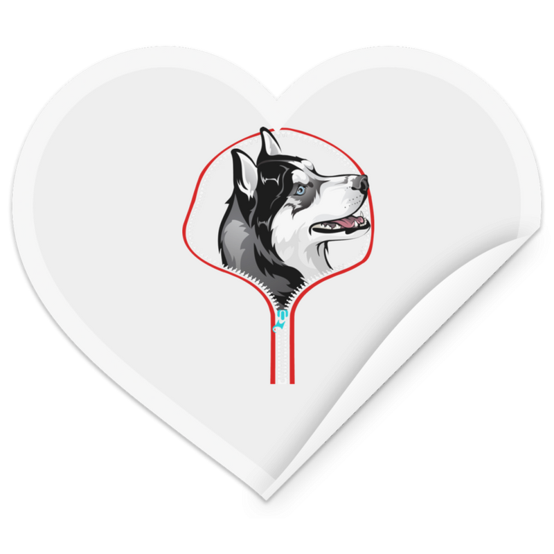 HUSKY ZIP-DOWN Heart Sticker