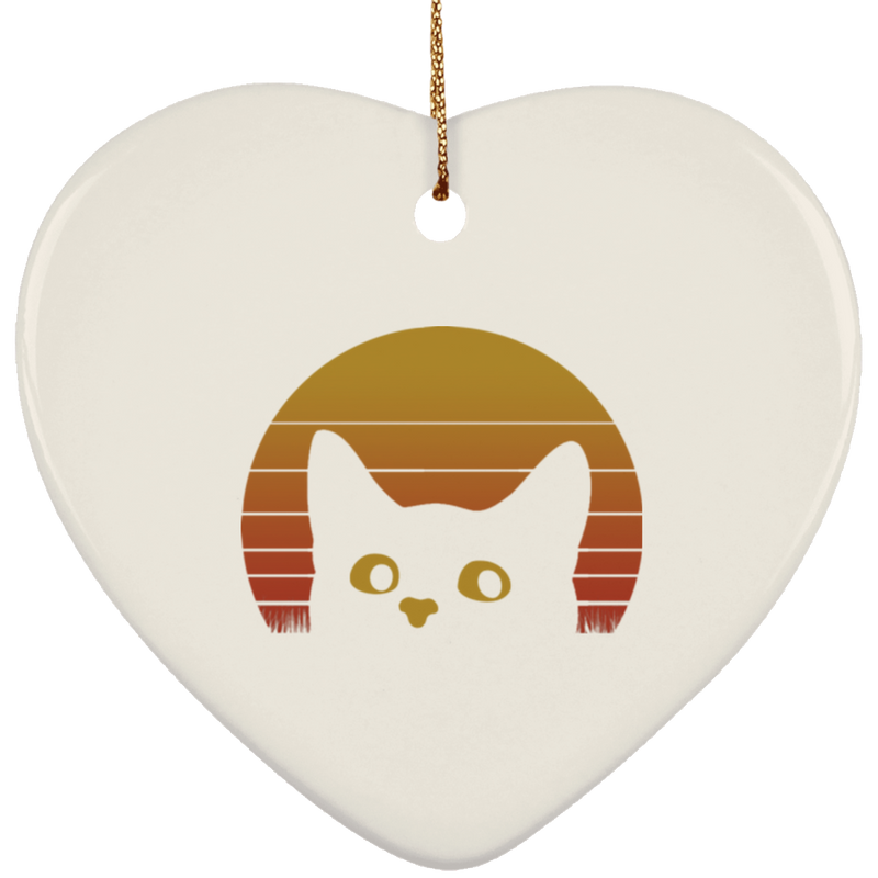 VINTAGE EIGHTIES STYLE CAT Ceramic Heart Ornament