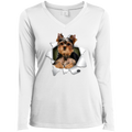 YORKSHIRE TERRIER 3D Ladies' LS Performance V-Neck T-Shirt