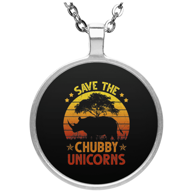 SAVE THE CHUBBY UNICORNS Circle Necklace
