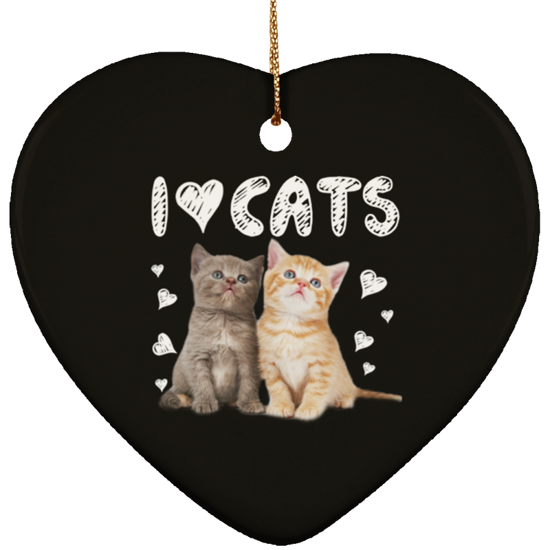 I LOVE CATS Ceramic Heart Ornament