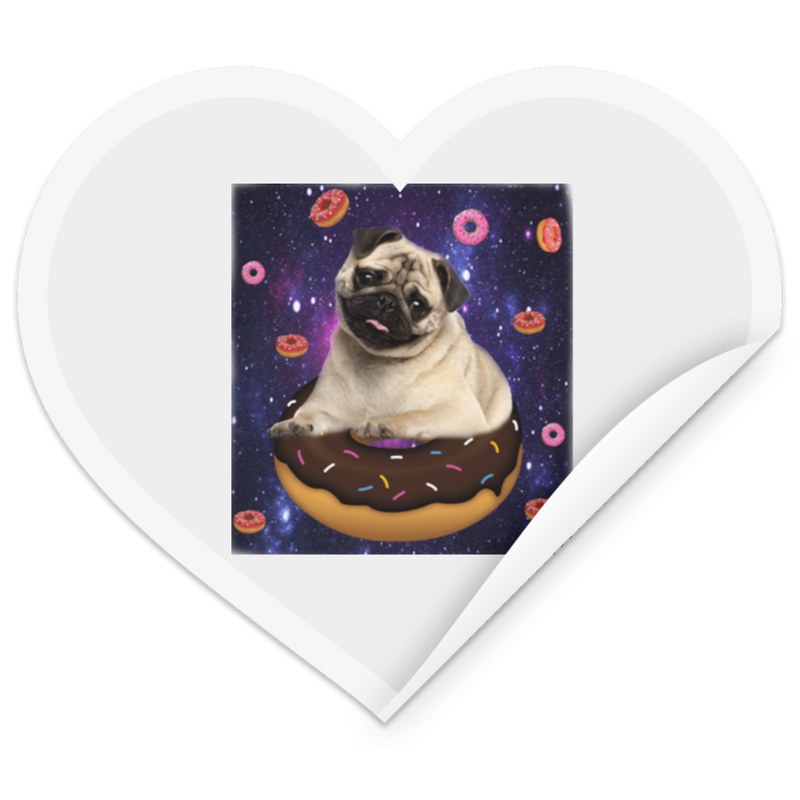 SPACE PUG RIDING DONUTS Heart Sticker