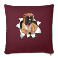 "BOXER Throw Pillow Cover 17.5"" x 17.5"" - burgundy"