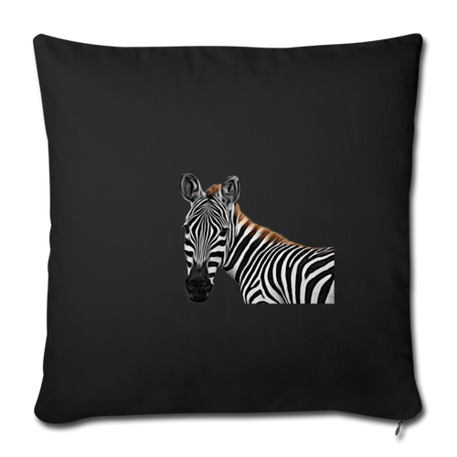 "ZEBRA Throw Pillow Cover 17.5"" x 17.5"" - black"