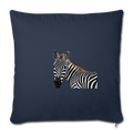 "ZEBRA Throw Pillow Cover 17.5"" x 17.5"" - navy"