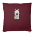 "SIBERIAN HUSKY Throw Pillow Cover 17.5"" x 17.5"" - burgundy"