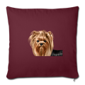 "YORKSHIRE TERRIER Throw Pillow Cover 17.5"" x 17.5"" - burgundy"