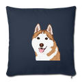 "SIBERIAN HUSKY Throw Pillow Cover 17.5"" x 17.5"" - navy"