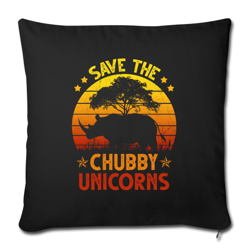 "Save the chubby unicorns Throw Pillow Cover 17.5"" x 17.5"" - black"