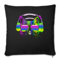 "Rainbow Music Cat Throw Pillow Cover 17.5"" x 17.5"" - black"