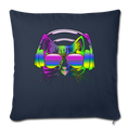 "Rainbow Music Cat Throw Pillow Cover 17.5"" x 17.5"" - navy"