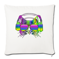 "Rainbow Music Cat Throw Pillow Cover 17.5"" x 17.5"" - natural white"