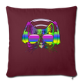 "Rainbow Music Cat Throw Pillow Cover 17.5"" x 17.5"" - burgundy"