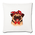 "Pug Mom Throw Pillow Cover 17.5"" x 17.5"" - natural white"