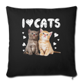 "I LOVE CATS Throw Pillow Cover 17.5"" x 17.5"" - black"
