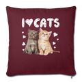 "I LOVE CATS Throw Pillow Cover 17.5"" x 17.5"" - burgundy"