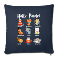 "HAIRY PAWTER Throw Pillow Cover 17.5"" x 17.5"" - navy"