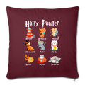 "HAIRY PAWTER Throw Pillow Cover 17.5"" x 17.5"" - burgundy"