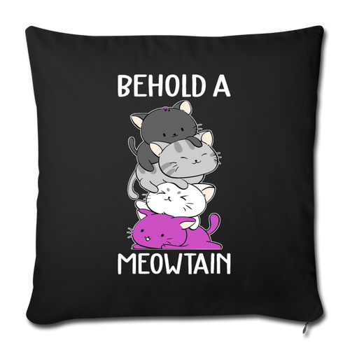 "BEHOLD A MEOWTAIN Throw Pillow Cover 17.5"" x 17.5"" - black"