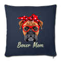 "BOXER MOM Throw Pillow Cover 17.5"" x 17.5"" - navy"
