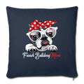 "French Bulldog MomThrow Pillow Cover 17.5"" x 17.5"" - navy"