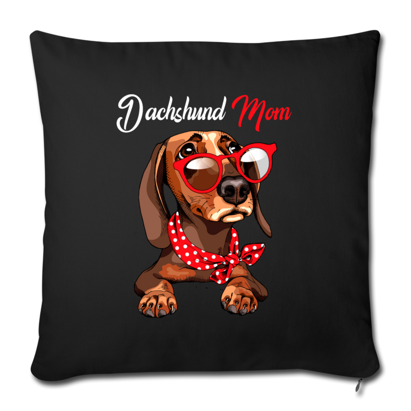 "Dachshund Mom Wearing Red Glasses Throw Pillow Cover 17.5"" x 17.5"" - black"