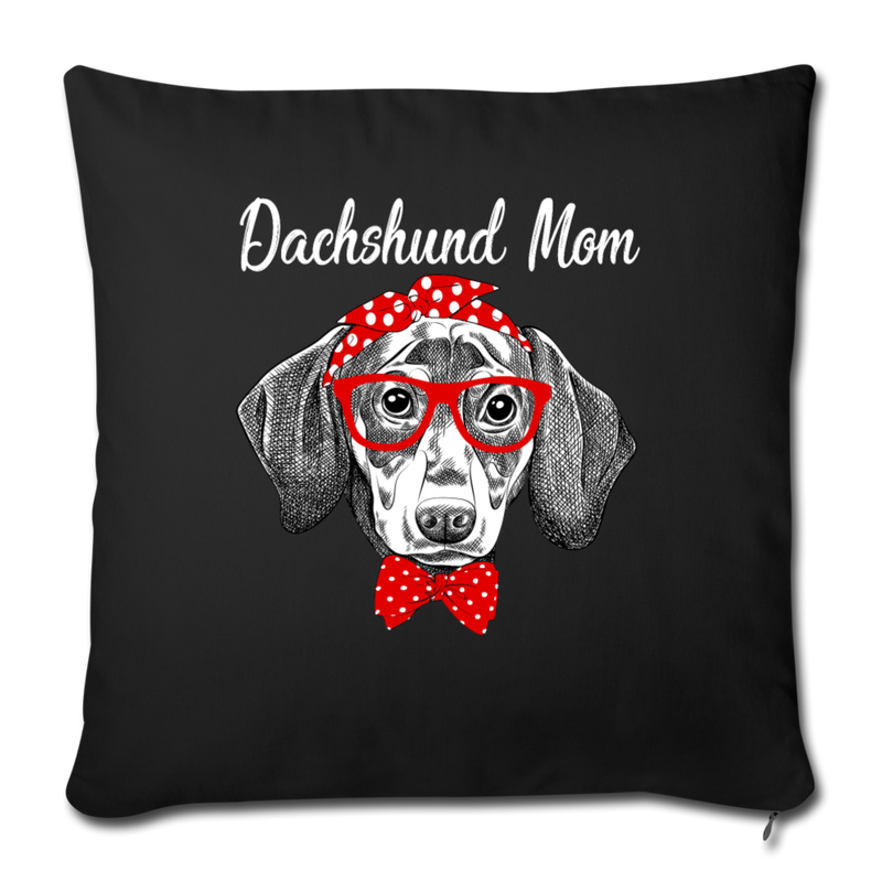 "Dachshund Mom Throw Pillow Cover 17.5"" x 17.5"" - black"