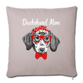 "Dachshund Mom Throw Pillow Cover 17.5"" x 17.5"" - light taupe"