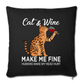 "Cats & Wine Throw Pillow Cover 17.5"" x 17.5"" - black"
