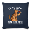 "Cats & Wine Throw Pillow Cover 17.5"" x 17.5"" - navy"