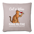 "Cats & Wine Throw Pillow Cover 17.5"" x 17.5"" - light taupe"