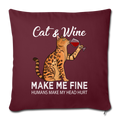 "Cats & Wine Throw Pillow Cover 17.5"" x 17.5"" - burgundy"