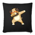 "Dabbing Pug Throw Pillow Cover 17.5"" x 17.5"" - black"
