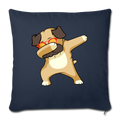 "Dabbing Pug Throw Pillow Cover 17.5"" x 17.5"" - navy"