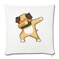 "Dabbing Pug Throw Pillow Cover 17.5"" x 17.5"" - natural white"