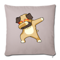 "Dabbing Pug Throw Pillow Cover 17.5"" x 17.5"" - light taupe"