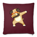 "Dabbing Pug Throw Pillow Cover 17.5"" x 17.5"" - burgundy"