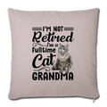 "Cat grandma Throw Pillow Cover 17.5"" x 17.5"" - light taupe"